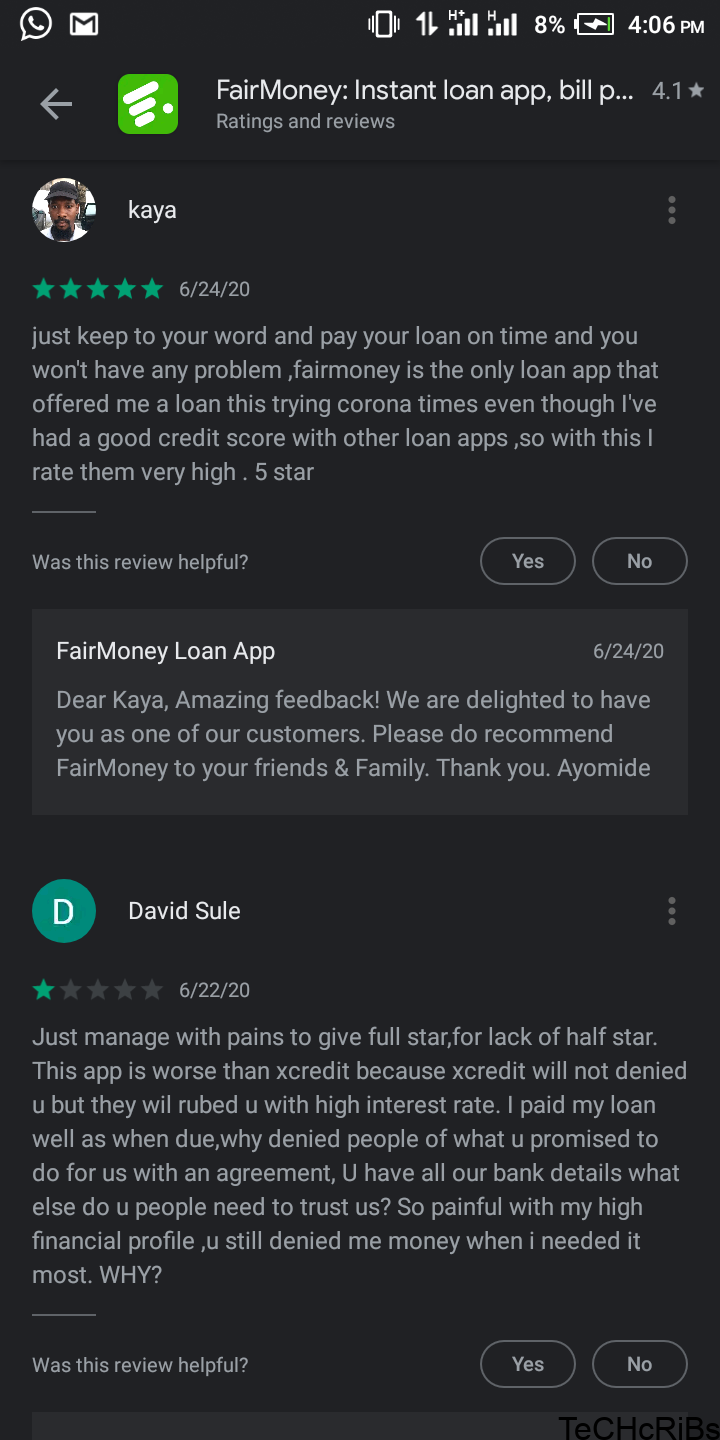 Fairmoney playstore review - quick loan app